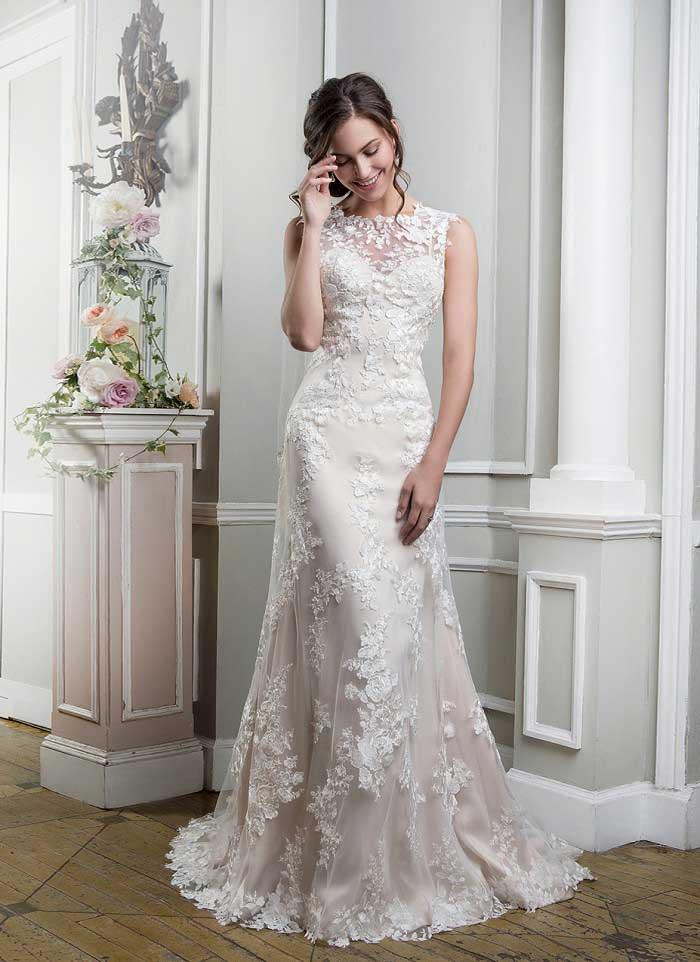 Lace high neck wedding dress uk brides
